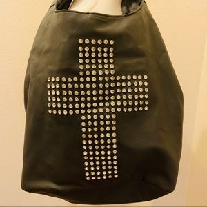 Grey Leather Bedazzled Cross Purse
